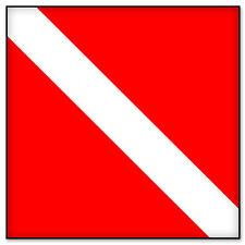 "Scuba Diving Diver Red Flag car sticker decal 4"" x 4"""