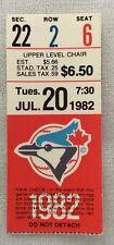 MLB 1982 07/20 Kansas City Royals at Toronto Blue Jays Ticket Stub-Dave Stieb WP