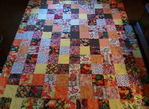 COUNTRY COTTAGE AUTUMN FALL FALLING LEAVES PUMPKINS QUEEN SIZE PATCHWORK QUILT