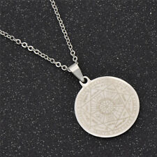 Solomon Seal Pendant Necklace for Men Silver Chain Chic Fashion Amulet Jewelry
