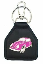 Pink Early Model Volkswagon Beetle, Quality Leather Keyring