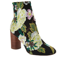 Sole Society Novelty Printed Heeled Ankle Boots Mulholland Green Multi Floral 8