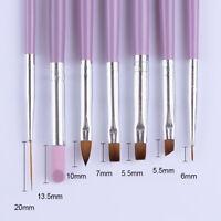 7Pcs Acrylic Nail Art Pen Tips UV Builder Gel Painting Brush Manicure Set New