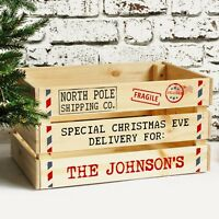 Personalised Family Christmas Eve Box, Large Solid Wooden Xmas Eve Treat Crate