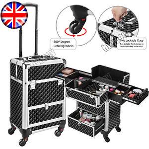 Large Cosmetic Bag Vanity Beauty Make-Up Box Hairdresser Trolley Case Travel UK