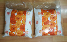 2 WHITE & ORANGE FLOWERS DESIGN CUSHIONS * FREE UK SHIPPING