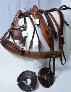 Original Oiled Gig Leather driving harness Best Quality Full, Cob, Pony Brown