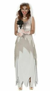 Womens Corpse Bride Costume Zombie Undead Halloween Fancy Dress Ladies Outfit