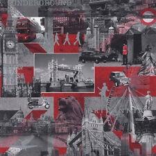 Britannia Black White Red MURIVA Feature DESIGNER Wallpaper London City 102509