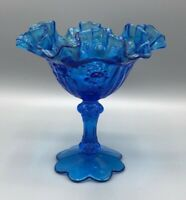 VINTAGE FENTON COLONIAL BLUE CABBAGE ROSE COMPOTE RUFF