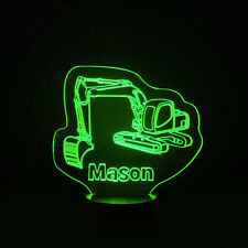 Digger Kids Room Personalised Children's 7 Colour LED Night Light Birthday Gift