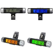 Termometro Digital Reloj Temperatura LCD con Clip Luz Fondo para Coche 3 Color