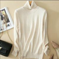 Womens Turtleneck Cashmere Sweater Autumn Winter Knitted Pullover Wool Warm New