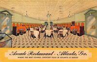 Linen Postcard of the interior of Arcade Restaurant in Atlanta, Georgia~117377