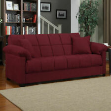 Red Sleeper Sofa Convertible Couch Full Bed Futon Living Room Furniture Guests