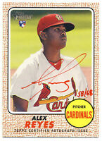 ALEX REYES 2017 TOPPS HERITAGE RED INK AUTOGRAPH #/68 AUTO ROOKIE RC CARDINALS !