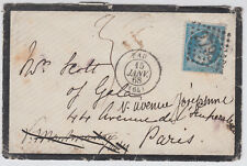 1868 France 20c blue Numeral 2795 Mourning Cover to Paris; Pau