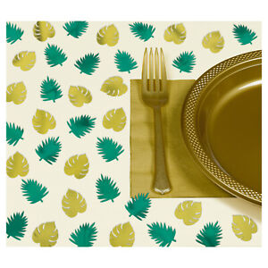 Hawaiian Key West Green & Gold Foil Palm Leaf Table Scatters Sprinkles Party