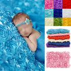 Newborn Baby Photography Props Rug Baby 3D Rose Flower Backdrop Blanket 100*65cm