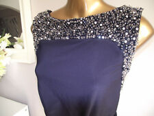 BN MONSOON NAVY BLUE CRYSTAL EMBELLISHED MAXI EVENING DRESS PROM PARTY BALL 16
