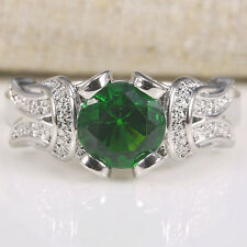 Natural 1.2Ct Emerald 925 Silver Ring Size 7-9 Wedding Bridal Engagement Jewelry