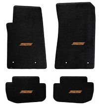 NEW! BLACK FLOOR MATS 2010-2015 Camaro Embroidered SS Logo in Orange on all 4