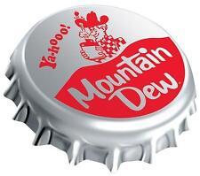 Mountain Dew Round Disc Die Cut Embossed Tin Enamel Metal Sign Soda 161