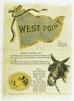 C.1910 West Point University College Mascot Cheer Tobacco Silk Vintage Original