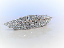 Slim gold crystal leaf hair clip clamp barrette