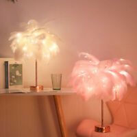 96LED Feather Shade Light Table Desk Lamp Romantic Home Decor + Remote Control
