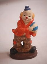Whimsical Blue Hat Clown Bisque Figurine Playing w Ball Home Shelf Decor