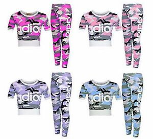 GIRLS CHILDRENS ADIOS PRINTED KIDS TRACKSUIT TWO PIECE CROP TOP BOTTOMS SET