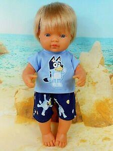 DOLLS CLOTHES FOR 38cm Miniland Boy Doll~BLUEY DOG TOP & SHORTS SET