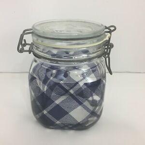 FIDO Bormioll Rocco Plaid Glass Jar 3/4 L Square Swinging Latching Lid Italy
