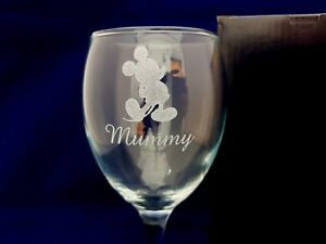 Personalised Engraved Wine Glass Mickey Mouse mother gift mum ANY NAME / MESSAGE