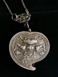 Antique Silver Heart Box/Locket, Dragon & Kilin, from Hmong in Northern Vietnam