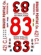 #83 Worth McMillion 1965 Pontiac 1/64th Ho Scale Slot Car Waterslide Decals