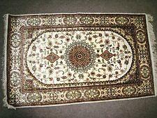 Persian Rug 2.5x4 Turkmen Carpet Tribal 100% Silk Beige Off White Medallion New
