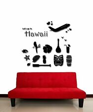 Wall Stickers Vinyl Decal Hawaii Travel Airplane Vacation Ocean  (z1756)