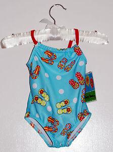 NWT Baby Buns Infant Girls Lt Blue Flip-Flop Print One-Piece Swimsuit sz 18M