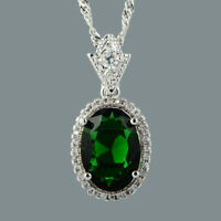 18K White Gold Plated Green Emerald Gem Stone Slide Pendant Necklace Curb Chain