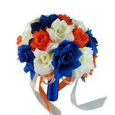 """10"""" Bouquet - Ivory, Royal Blue, Orange Artificial Rose Bouquet, Wedding Bouquet"""