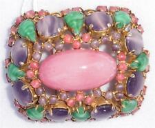 Vintage Schreiner New York Pink, Purple & Green Stones Brooch Pin Pendant