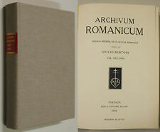 ARCHIVUM ROMANICUM XXV 1941 1971 Chirurgia Ruggero Salerno Serranilla Filologia