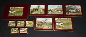 11 x Vintage Horses Fox Hunting Country Scenes Dining Table Place Mats Coasters