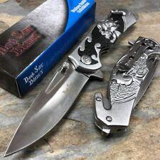 Dark Side Blades Fantasy Gray & Black Skull Aluminum Handle Silver Blade Knife