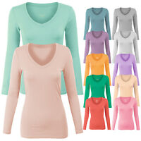 Women's Long Sleeve Basic Cotton/Span Plain V Neck T-shirt Top Tee S,M,L-2