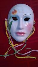 Vintage 1984 Hand Painted Vandor White Orchid Ceramic Mask