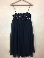 Baby Doll Little Black Dress Sequin Bodice  Spaghetti Straps Size 10 JS Boutique