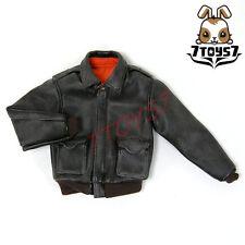 Wild Toys 1/6 A2_ Black Worn Jacket only _USAF Military Flight Leather-li WT018Q